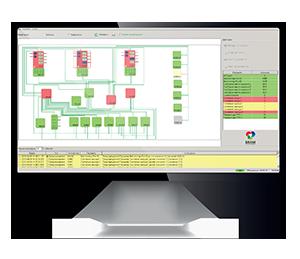Система SystemMonitor для контроля всех устройств вещательного комплекса, экран монитора